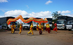 Team of people perform dragon dance Royalty Free Stock Photo