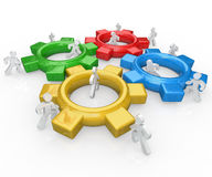 Team of People Push Gears Together Teamwork Success vector illustration