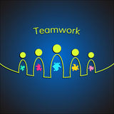 A team of people with puzzles. Teamwork business. Concept. Vector Stock Photos