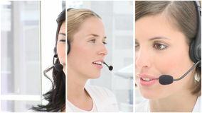Team of people at work in a call centre stock footage