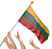 Team of peoples hands raising the Lithuania national flag. 3D rendering isolated on white background Royalty Free Stock Photo