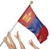 Team of peoples hands raising the Mongolia national flag. 3D rendering isolated on white background Royalty Free Stock Photo