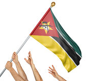 Team of peoples hands raising the Mozambique national flag. 3D rendering isolated on white background Royalty Free Stock Image