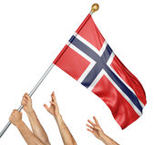 Team of peoples hands raising the Norway national flag. 3D rendering isolated on white background Royalty Free Stock Photos