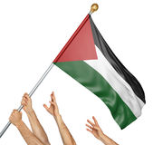 Team of peoples hands raising the Palestine national flag. 3D rendering isolated on white background Stock Photography