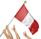 Team of peoples hands raising the Peru national flag. 3D rendering isolated on white background Stock Image
