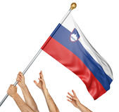 Team of peoples hands raising the Slovenia national flag stock photos
