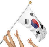 Team of peoples hands raising the South Korea national flag. 3D rendering isolated on white background Stock Photography