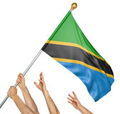 Team of peoples hands raising the Tanzania national flag. 3D rendering isolated on white background Stock Photography