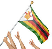 Team of peoples hands raising the Zimbabwe national flag Stock Photography