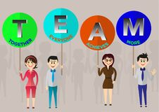 Team 4 persons women and men Stock Images