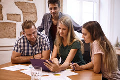 Team of planners in a strategic meeting Royalty Free Stock Photography