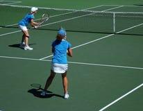 Team Play. Tennis doubles match - team players Stock Photos