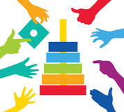 Team play with colorful pieces construction. Corporate strategy and cooperation Royalty Free Stock Image