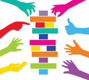 Team play with colorful pieces construction. Corporate strategy and cooperation Stock Images