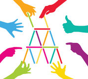 Team play with colorful puzzle pieces. Corporate strategy and cooperation Stock Photo