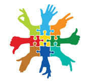 Team play with colorful puzzle pieces. Team concept vector illustration