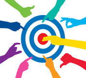 Team play with target. Team play with colorful target royalty free illustration