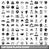 100 team player icons set, simple style Stock Photo