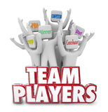 Team Players People Workers Staff Working Together Winners Succeed. Team Players words in 3d red letters and people cheering together with words Winner, MVP, Pro royalty free illustration