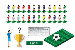 Team players and soccer field with trophy Stock Image