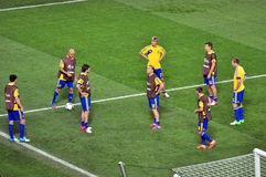 Team players warm up during a break in Ukraine Stock Images