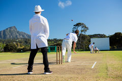 Team playing cricket on pitch against sky royalty free stock image