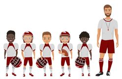 Team pojkar för amerikansk fotboll för skola för vektortecknad filmlägenhet anseende med deras lagledareinstruktör vektor illustrationer