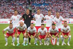 Team of Poland. Poznan, Poland. 8th June, 2018. International Football friendly match: Poland v Chile 2:2. Team of Poland before the match royalty free stock image