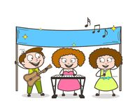 Team of Pop-Singers Singing in Event Vector Illustration. Design Stock Images