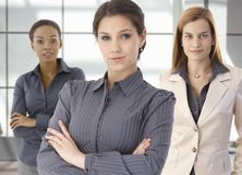 Team portrait of happy businesswomen in office Stock Images