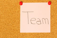 Team post-it coarkboard background Stock Photo