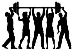 Team power. EPS8 editable vector silhouette of a business team working together to lift a heavy weight barbell with all figures as separate objects Stock Images