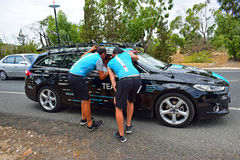 Sky Team Car And Support Crew La Vuelta España Royalty Free Stock Image