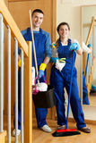 Team of professional cleaners Stock Photos