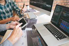 Team of Professional Developer programmer cooperation meeting and brainstorming and programming in website working a software and. Coding technology, writing stock images