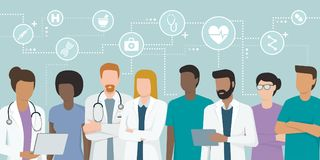 Team of professional doctors royalty free illustration