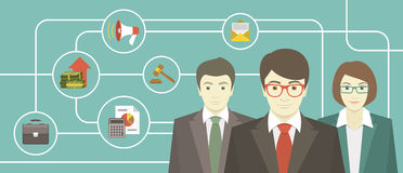 Team of Professionals. Conceptual illustration of the team of professionals with various business icons Royalty Free Stock Photo
