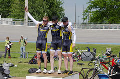 Team Project London Celebrates Win. BLAINE, MINNESOTA - June 12: Team Project London (Kevin Masker at left, Michael Blatchford in center, Daniel Walker at right stock photos