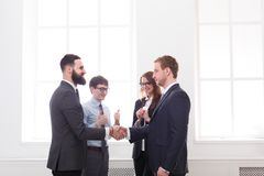 Team put hands together, connection, teambuilding and alliance concept. Stock Photos