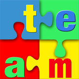 Team Puzzle. The word team in letters connected in a colorful puzzle with blue, green, yellow and red.  Vivid, clean, crisp, and bright with good 3d depth Royalty Free Stock Images