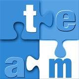 Team Puzzle. The word team in letters connected in a crisp, clean unique stylish puzzle in blue and white with good 3d depth Stock Illustration