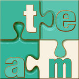 Team Puzzle. The word team in letters connected in a crisp, clean unique stylish puzzle in blue green tones and white with good 3d depth Royalty Free Stock Photography
