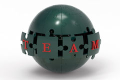 Team puzzle globe Stock Photography