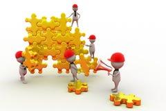 Team-Puzzlespielkonzept des Mannes 3d Lizenzfreies Stockfoto