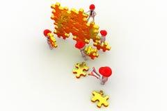 Team-Puzzlespielkonzept des Mannes 3d Lizenzfreie Stockbilder