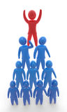 Team pyramid. Red person standing on top of the pyramid made of blue persons standing on each other. Concept of  winning, hierarchy, cooperation and teamwork Royalty Free Stock Images