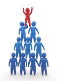 Team pyramid. Red person standing on top of the pyramid made of blue persons standing on each other. Concept of  winning, hierarchy, cooperation and teamwork Royalty Free Stock Image