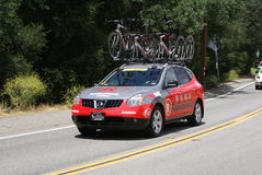 Team RadioShack car for 2010 Tour of California royalty free stock images
