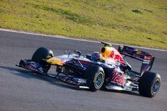 Team Red Bull dat F1, Teken Webber, 2011 rent Stock Foto's